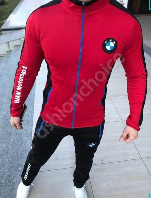 Мъжки спортен комплект в червено с модна бродерия-код 1439-2