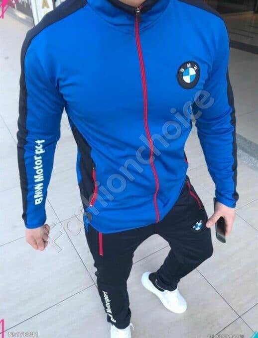 Мъжки спортен комплект в кралско синьо с модна бродерия-код 1439-1
