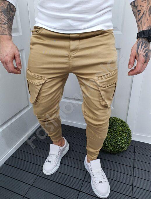 Мъжки карго панталон в цвят камел-код 9507