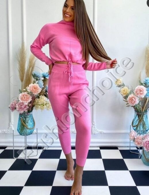 Дамски комплект плетиво в розово - код 1488