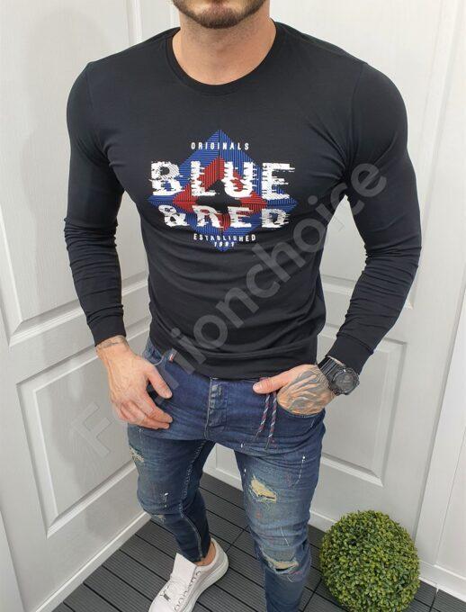 Mъжка памучна блуза с надпис BLUE&RED в черно-код 081