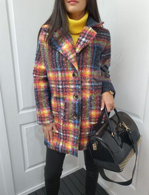 Свежо дамско палто от цветно букле-код 8560