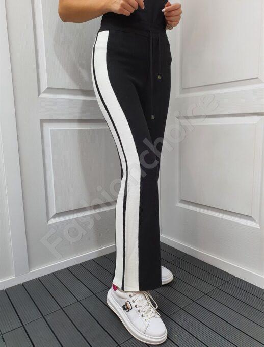 Дамски панталон от фино плетиво с широк бял кант-черно-код 1467-1